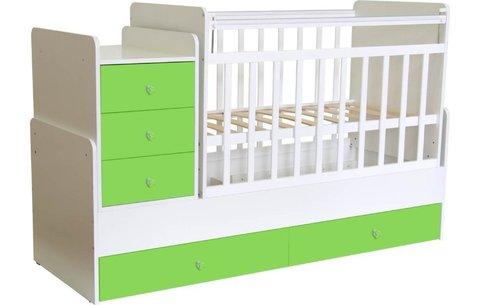 Кроватка детская Фея 1100 белый-лайм