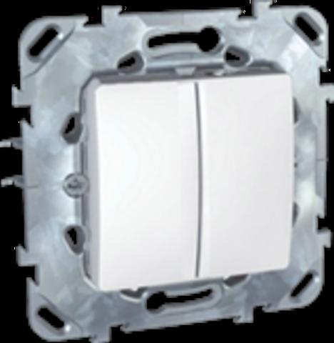 Выключатель двухклавишный проходной - Переключатель двухклавишный. Цвет Белый. Schneider electric Unica. MGU5.213.18ZD