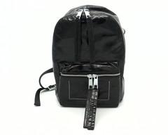 Комбинированный кожаный рюкзак с декоративной отстрочкой