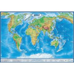 Настенная физическая карта мира 1:34 млн