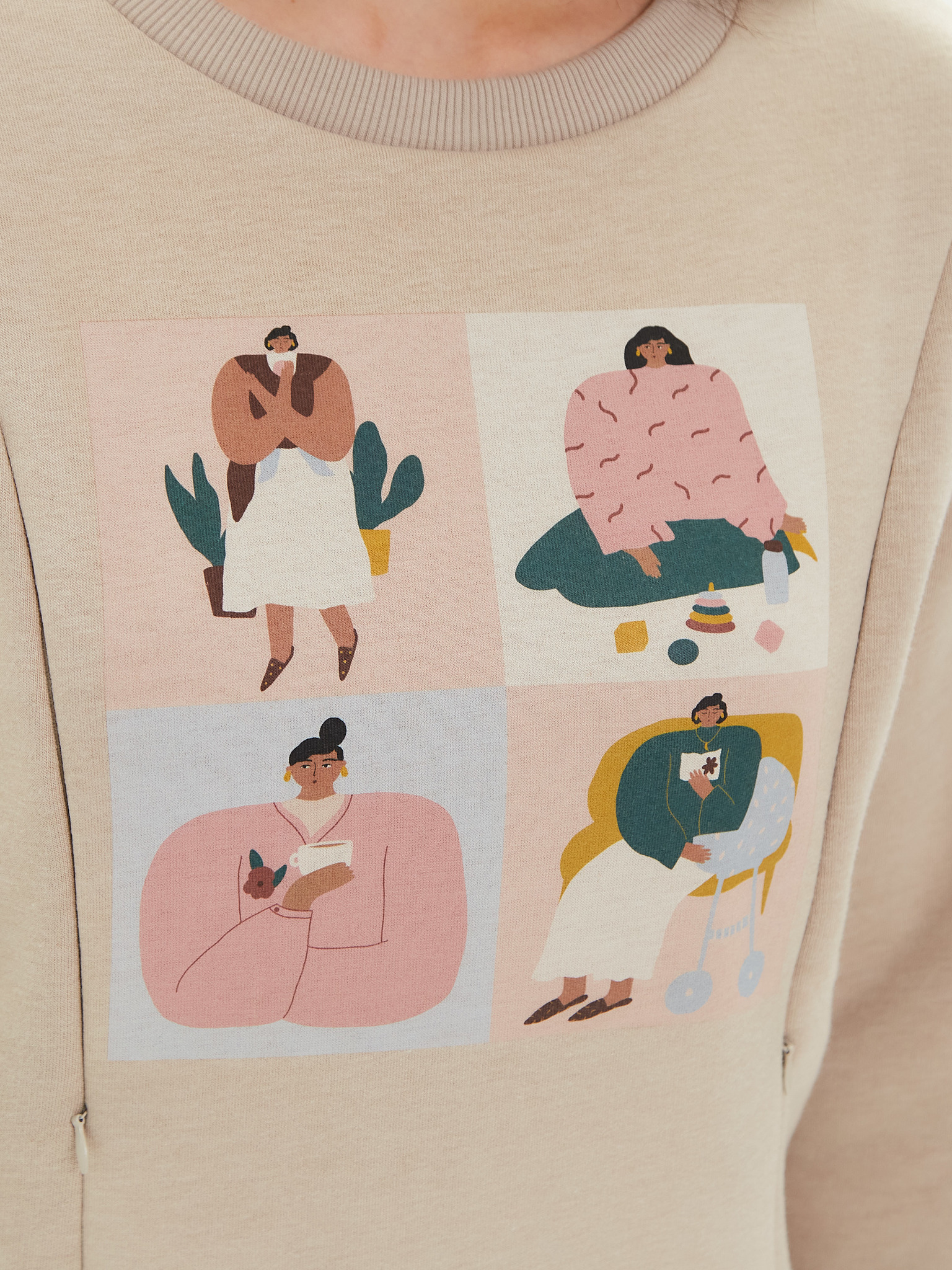 Chic mama Свитшот утепленный для кормящих мам, с вертикальными секретами для кормления на потайной молнии, с начесом, с принтом