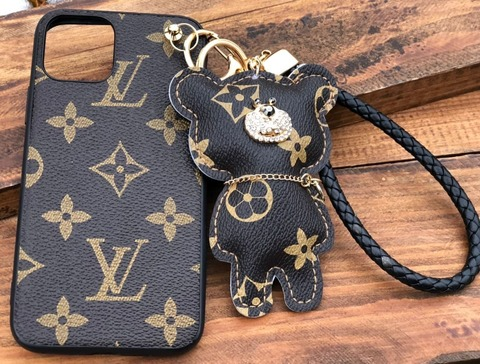 Чехол брендовый Bear iPhone X Louis Vuitton Monogram /brown/