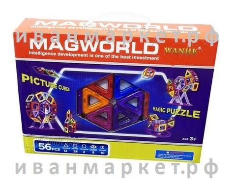 Магнитный конструктор 56 деталей MagWorld