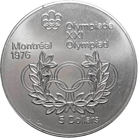 5 долларов. XXI летние Олимпийские Игры, Монреаль 1976 - Олимпийские кольца. Канада. Серебро. 1974 г. AU
