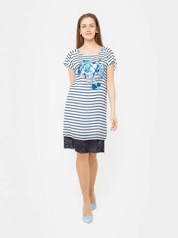 Фото пляжное платье прямого силуэта с принтом в полоску - Платье З181-737 (1)
