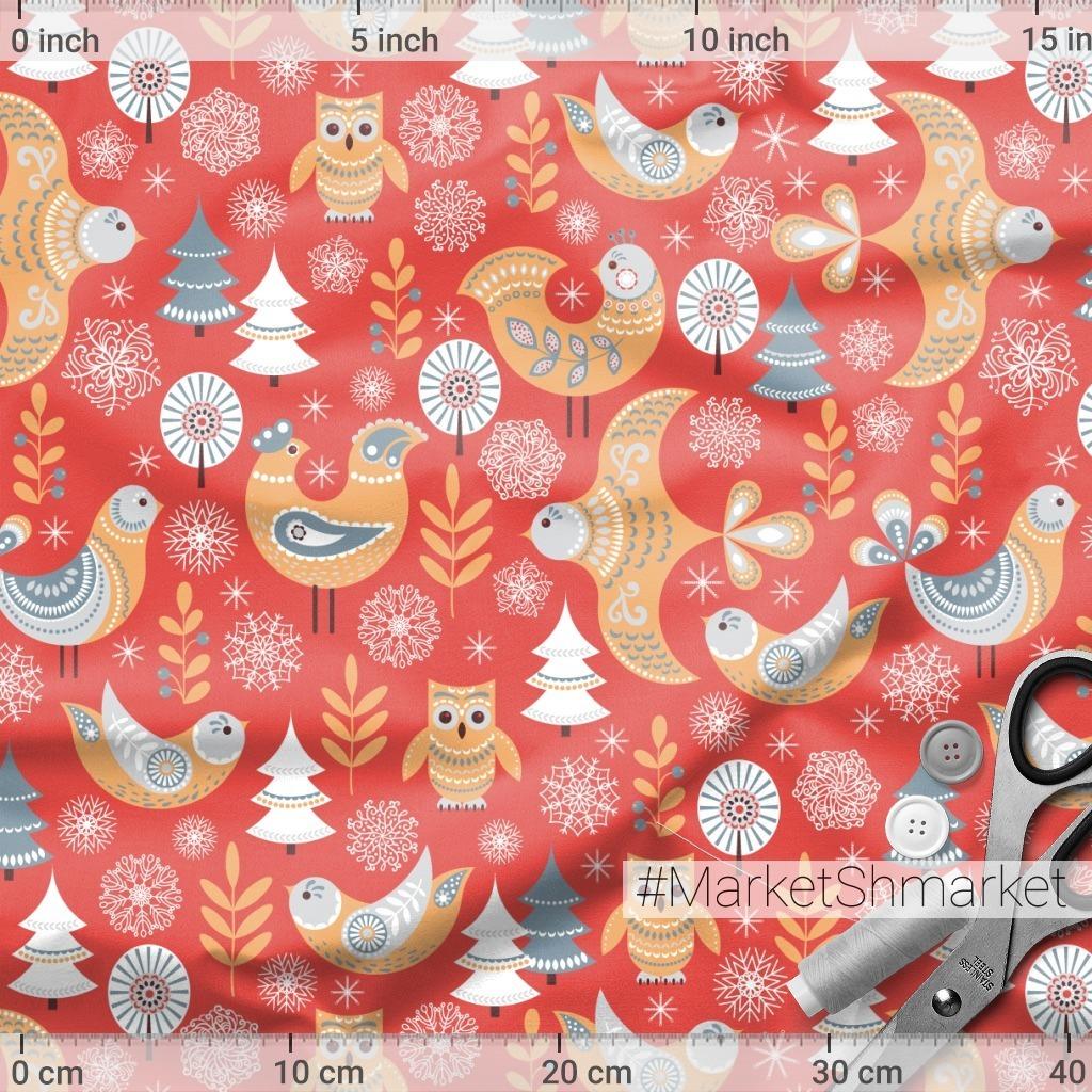 Птицы в лесу. Зимний красный фон. Скандинавский стиль. (Дизайнер Irina Skaska)