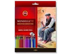 Набор художественных акварельных карандашей MONDELUZ OLD MAN 72 цвета с кисточкой и точилкой в картонной коробке