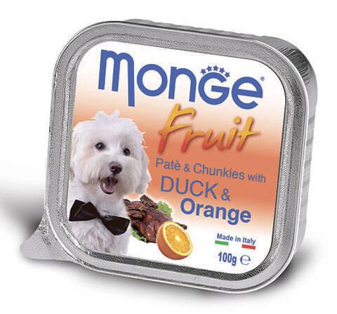 Купить консервы Monge Fruit Duck & Orange паштет для собак утка с апельсином  100г