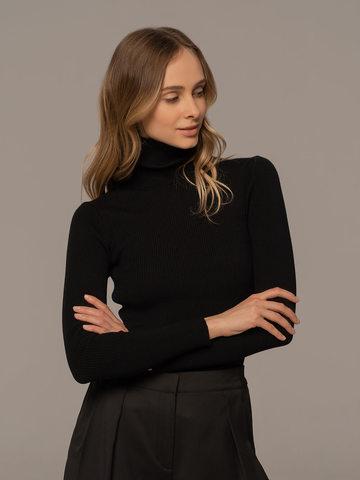 Женская водолазка черного цвета из 100% шерсти - фото 2