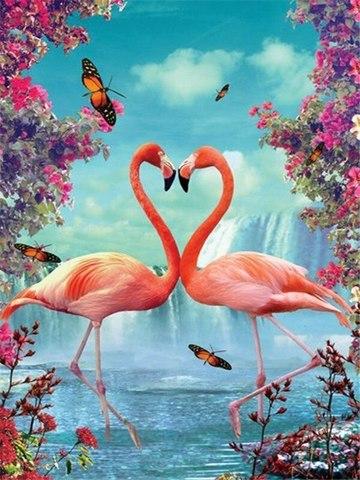 Алмазная Мозаика 40x50 Поцелуй фламинго