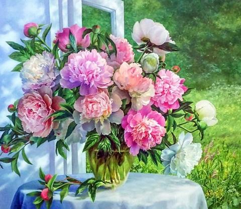 Картина раскраска по номерам 30x40 Букет пионов у открытого окна