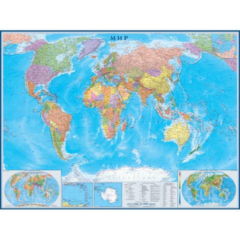 Настенная политическая карта мира 1:22 млн (1580x1180 мм)