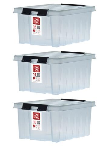 Ящик для хранения RoxBox с крышкой прозрачный 16 литров, набор из 3 штук