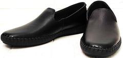 Кожаные слипоны туфли осенние мужские Broni M36-01 Black.