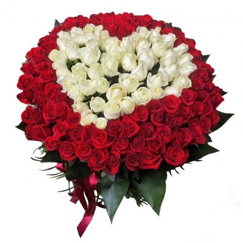 """Букет """"СЕРДЦЕ из 101 розы"""" Эквадор"""