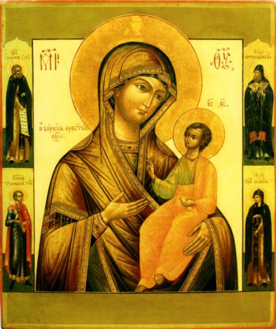 Икона Божией Матери Иверская со святыми на дереве на левкасе мастерская Иконный Дом