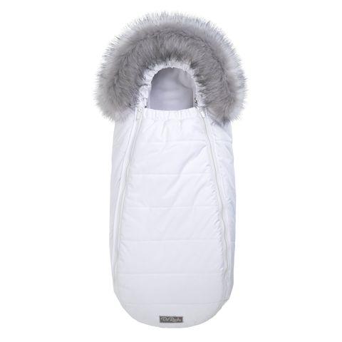 Зимний конверт для новорожденного на выписку и прогулку Baby XS Флисовый Белый с опушкой
