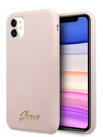 Чехол Guess Gold для iPhone 11 | золотой логотип силикон розовый микрофибра