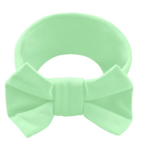 Повязка на голову с бантиком зеленое яблоко