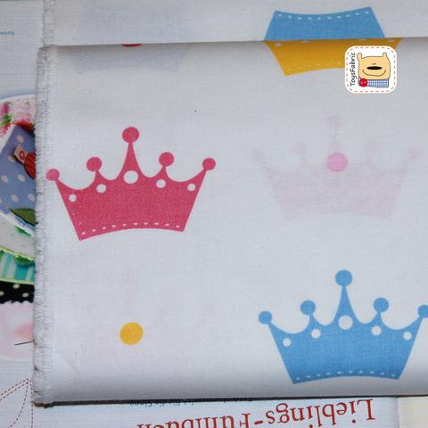 Ткань хлопок Польша П57 Разноцветные короны (80х50см)