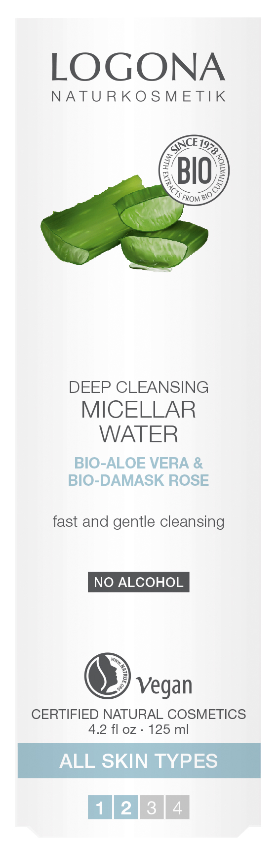 LOGONA Мицеллярная вода для глубокого очищения кожи с Био-Алоэ и Био-Дамасской Розой