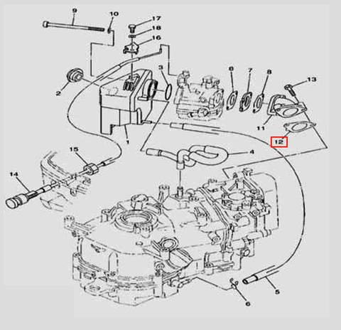 Прокладка коллектора для лодочного мотора F5 Sea-PRO(6-12)