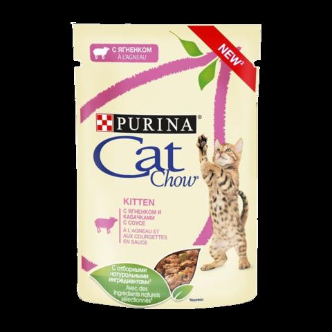 Cat Chow Kitten Консервы для котят с Ягненком и кабачками в соусе (Пауч)