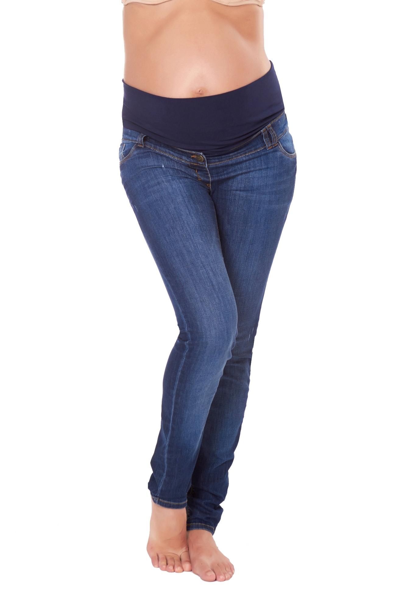 Фото джинсы для беременных MAMA`S FANTASY, зауженные, широкий бандаж, средняя посадка от магазина СкороМама, синий, размеры.