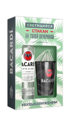 Ром Bacardi Carta Blanca 0,7 + стакан