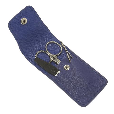 Маникюрный набор GD, 3 предмета, цвет синий, кожаный футляр