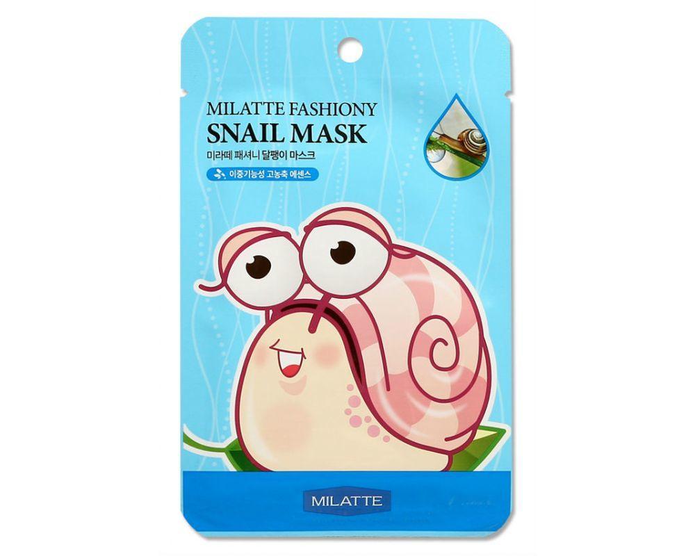 "Увлажняющие Маска тканевая для лица улиточная MILATTE  FASHIONY SNAIL MASK SHEET 21гр"" fashiony-snail-mask-sheet-1000x800.jpg"