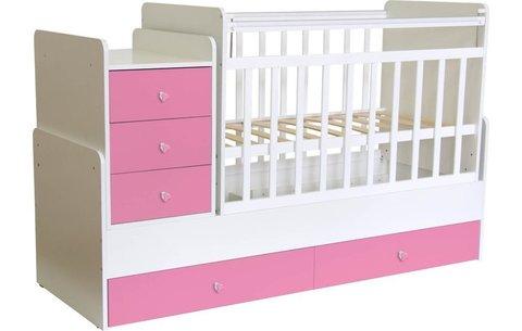 Кроватка детская Фея 1100 белый-роза