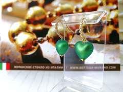 Серьги из муранского стекла в виде сердца со стразами изумрудные Allegra Cuori Matt 026