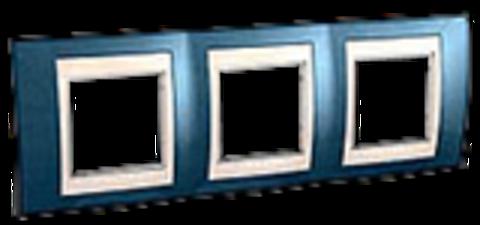 Рамка на 3 поста. Цвет Голубой лёд/бежевый. Schneider electric Unica Хамелеон. MGU6.006.554