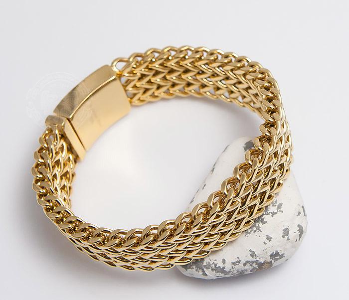 BM468-2 Тяжелый мужской браслет из стали золотистого цвета (22 см)