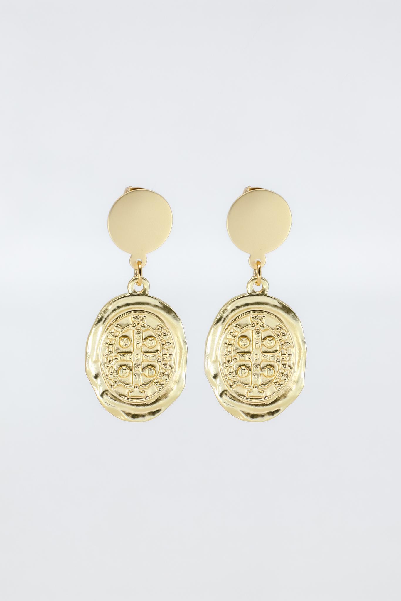 Серьги позолоченные с медальонами  оптом и в розницу