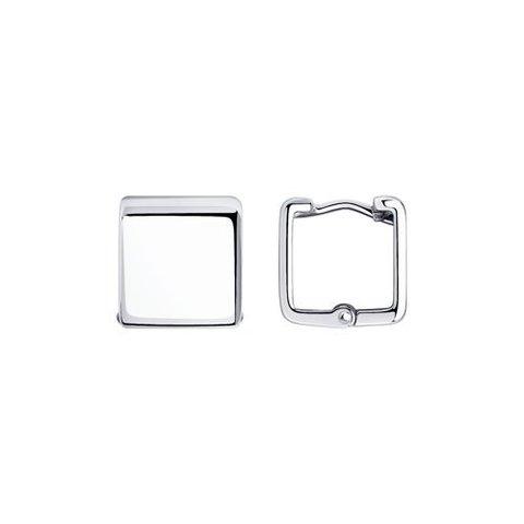 94024157 - Стильные серьги из серебра в форме широких квадратов