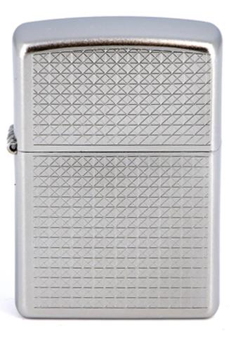 Зажигалка Zippo Diamond plate с покрытием Satin Chrome, латунь/сталь, серебристая, матовая123
