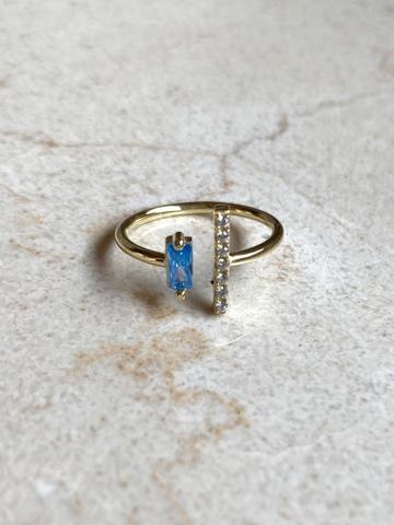Кольцо Дуо из позолоченного серебра с голубым цирконом