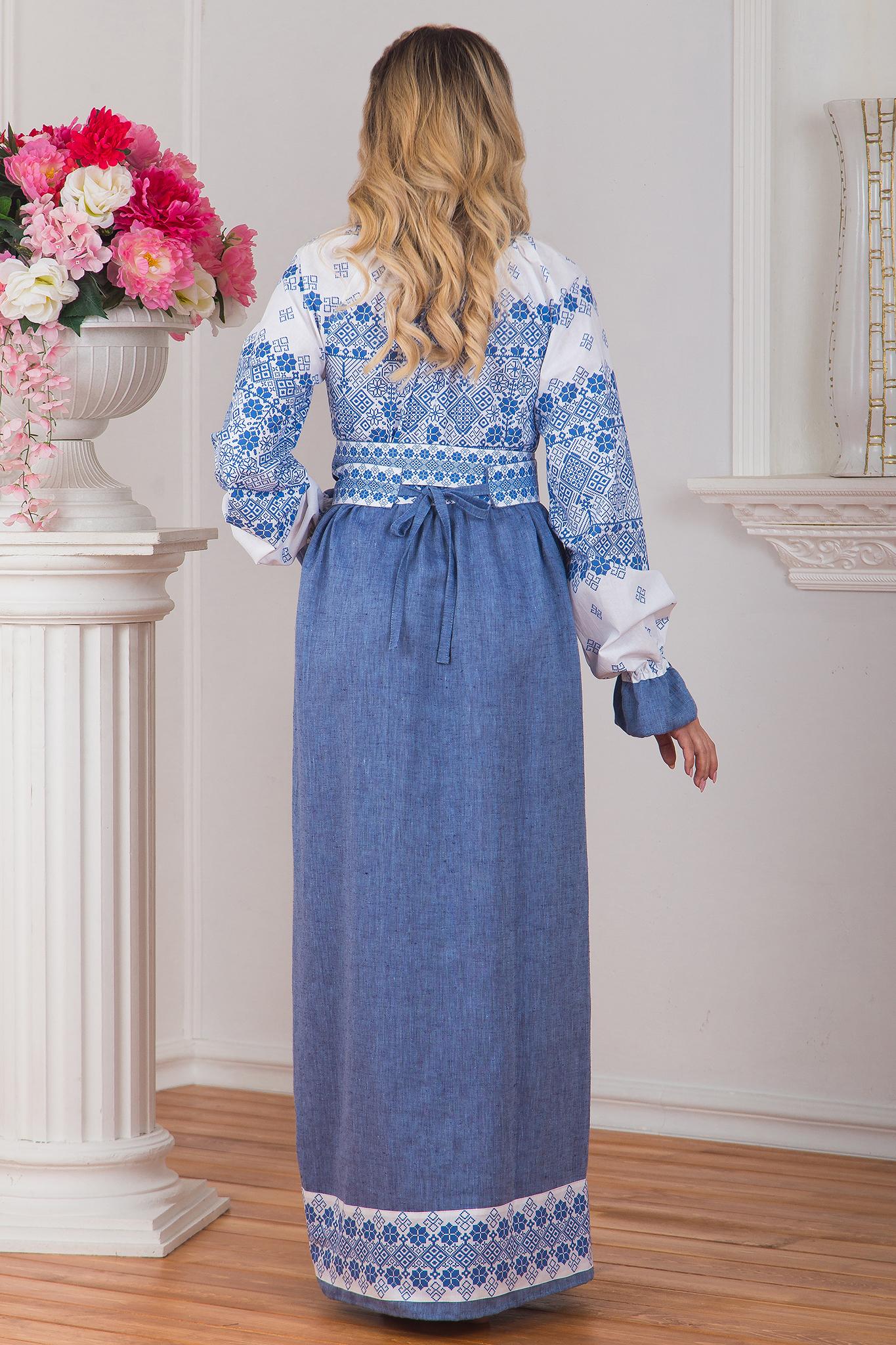 Платье русское народное льняное Дары солнца