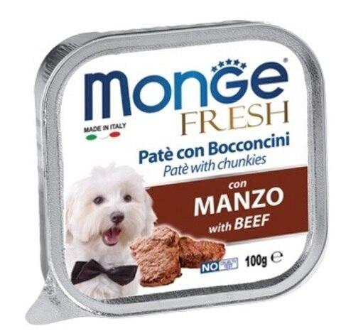 купить консервы Monge Fresh with beef Паштет из мяса говядины для взрослых собак всех пород