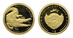 Золотая монета 2007 года выпуска Палау 1 доллар, Морской крокодил, AU-999, 1,24 гр. диам. 13,92 мм, тир. 25000, пруф. 100% гарантия подлинности.