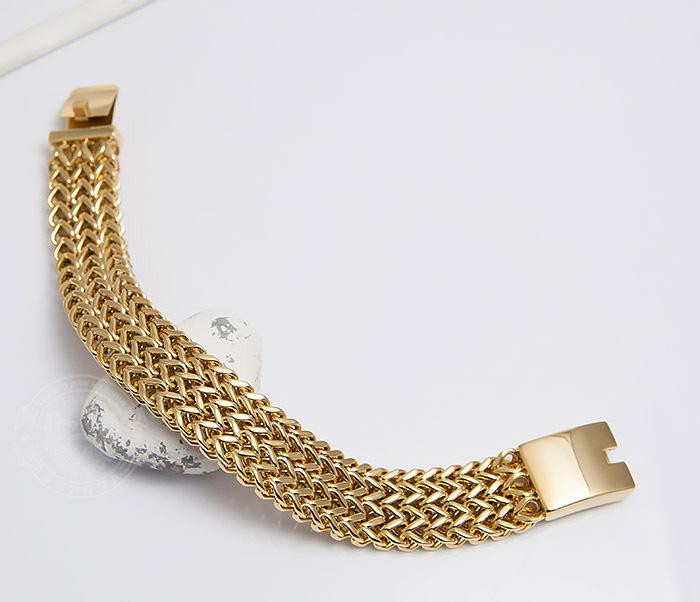 BM468-2 Тяжелый мужской браслет из стали золотистого цвета (22 см) фото 02