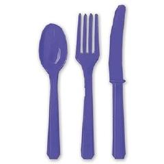 Столовые приборы пластик Фиолетовые / Purple / 24 шт.