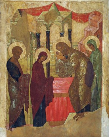 Икона Сретение Господне на дереве на левкасе мастерская Иконный Дом