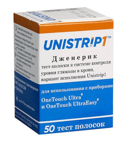 Тест-полоски Unistrip 1 Юнистрип (для глюкометра One Touch Ultra) 50 шт