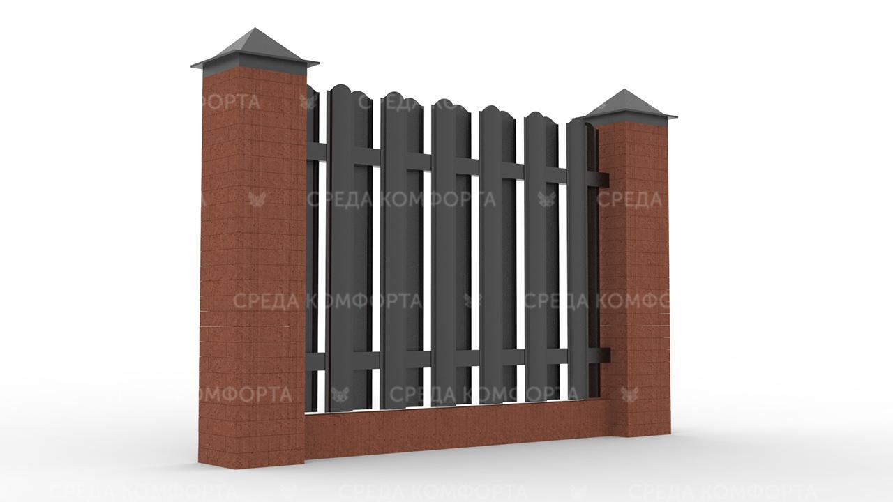 Забор из евроштакетника ZBR0043