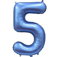 К Цифра, 5, Синий, Сатин, 34''/86 см, в упаковке 1 шт.