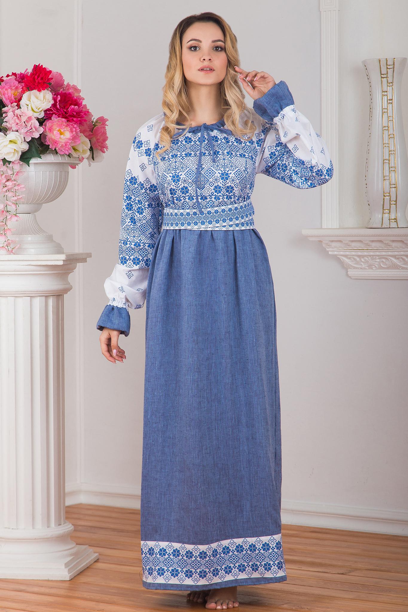 Платье льняное в русском стиле Дары солнца