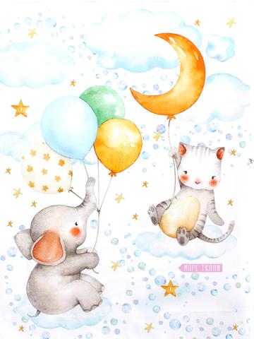 Панель(купон) котик,слоник и шары -75*100 см